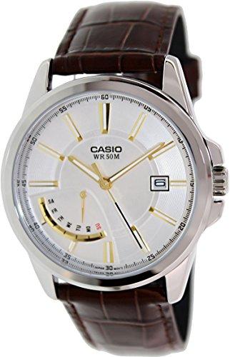 Casio Men'S Mtpe102L-7Av Brown Leather Quartz Watch With Silver Dial