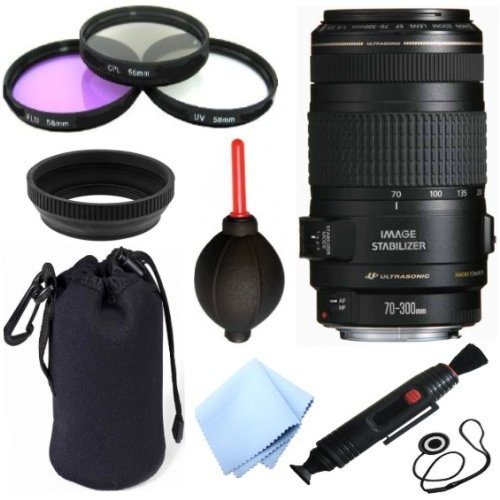 Canon Ef 70-300Mm F/4-5.6 Is Usm Telephoto Zoom Lens For Canon Eos 5D, 5D Mark Ii, 5D Mark Iii, 6D, 60D, 7D, 70D, Eos Rebel Sl1, T1I, T2I, T3, T3I, T4I, T5I, Xs, Xsi, Xt, & Xti Digital Slr Cameras + Celltime 10Pc Bundle Deluxe Accessory Kit