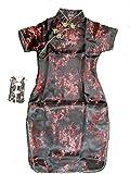 Cinda Le ragazze raso vestito cinese fiore Negro 16 Años