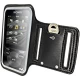 iGadgitz Reflective Anti-Slip Black Sports Jogging Gym Armband for Sony Walkman NWZ-E585 & NWZ-E384 With Key Slot