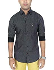 AA' Southbay Men's Black Printed 100% Cotton Long Sleeve Casual Shirt - B00TX9TW9Y