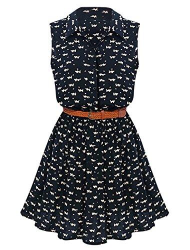 Allegra K Women Cat Prints Sleeveless Unlined Shirt Dresses w Belt Dark Blue L