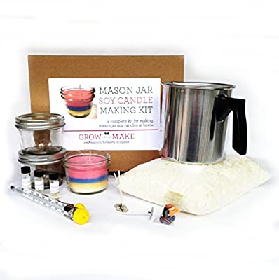 Candle Making Kit with Mason Jars (makes 6 candles) with natural soy wax