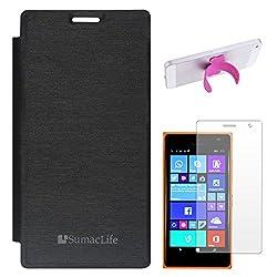 SumacLife Premium Flip Cover Case for Nokia Lumia 730 (Black) + Touch U Silicone Stand + Matte Screen