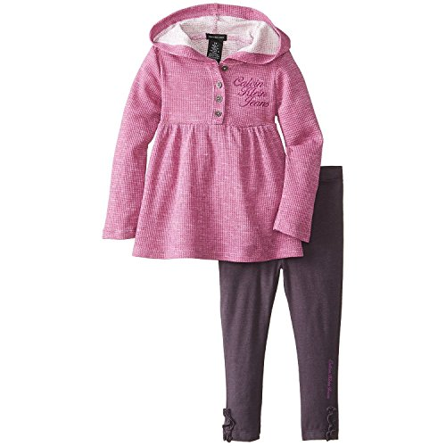 Calvin Klein Little Girls' Printed Burnout Hooded Tunic Set, Purple/Assorted, 3T front-727462