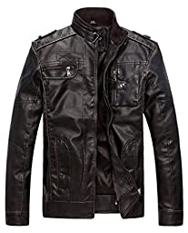 Wantdo Men\'s Vintage Stand Collar Pu Leather Jacket US X-Large Coffee