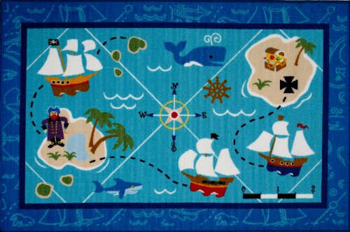 Roule Olive Kids Collection Pirates! 39X58 Inch Kids Area Rugs