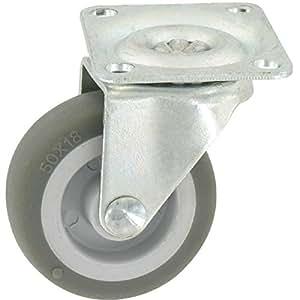 Guitel point M - Roulette Mini roll à platine pivotante / Roue Plastex gris - 62 x 50 - 20