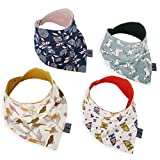 FeliStar Bandana Baby Bibs with Nickel Free Snaps (4-Pack) - Cute Unisex Designs for Boys and Girls - Plush, Absorbent Organic Cotton - Great for Drool, Teething and Eating
