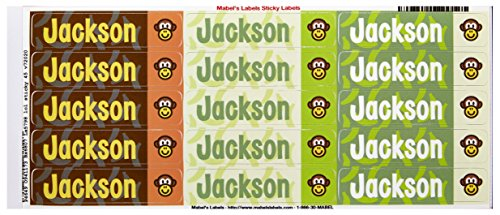 Mabel'S Labels 40845045 Peel And Stick Personalized Labels With The Name Jackson And Monkey Icon, 45-Count front-585562