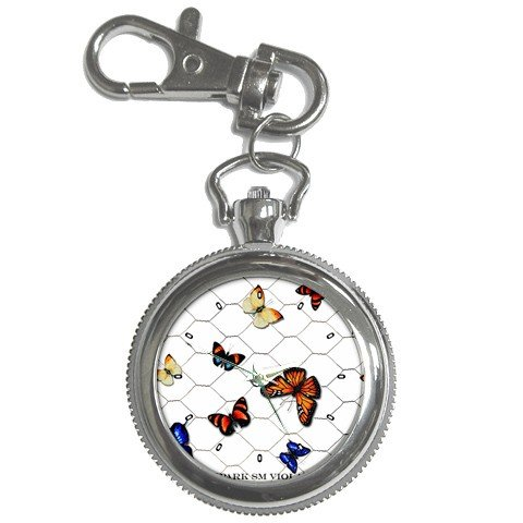 Limited Edition Violano Keychain Pocket Watch Multiple Butterflies