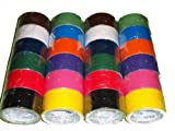 """24 Roll Variety Pack Solid Colors (brights and regular colors) of All Purpose Duct Tape. Brights Include: green, blue, orange, purple, yellow and pink. Regular colors include: brown, white, black, green, red, and blue. All solid color rolls are 1.89""""x 10 yards."""