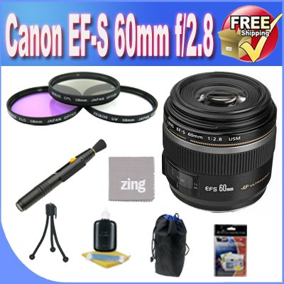 Order Today Cheap Canon EF-S 60mm f/2.8 Macro USM Digital SLR Lens + 3 Piece Filter Kit + Lens Case + Zing MicroFiber Cleaning Cloth + Lens Pen Cleaner + Lens Accessory Saver Bundle! ! Buy quality product