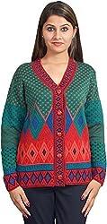 KTC Women's Wool Regular Fit Cardigan (651-V32, Green, 38)