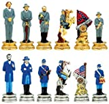 Civil War Chess Pieces - Gold and Silver Plated Pewter - 2&quot; Height (Board Not Included)