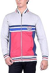 RGT Men's Fleece Regular Fit Sweatshirts (RGT6036GREYRED-XXL)