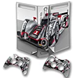 Cars 10106, Race Car, Wrap Around Skin Sticker Decal Vinyl Wrap Cover Protector with Leather Effect Laminate and Colorful Design for Xbox 360 Fat Game Console and 2 Controllers.