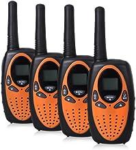 Excelvan® 4pcs LCD backlit display Walkie Talkies Package, 8 channel PMR system auto scan function Walkie Talkie, 8 Channel Twin Walkie Talkies UHF400-470MHZ 2-Way Radio 3KM Range Interphone Black UK