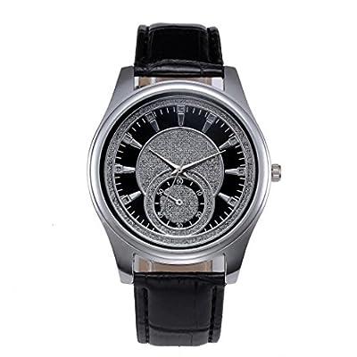 Sandistore New Men Leather Stainless Steel Dial Quartz Wrist Watch