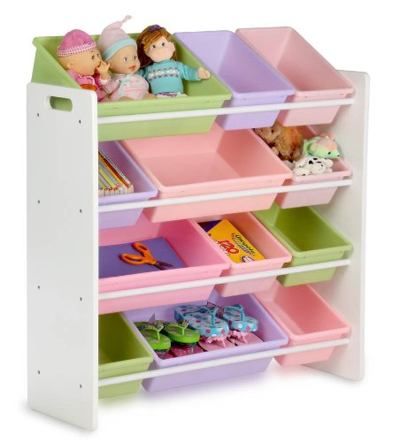 picture Honey-Can-Do SRT-01603 Kids Toy Organizer and Storage Bins, White/Pastel