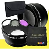58mm Wide Angle + 2x Telephoto Lenses + 3 Piece Filter Kit For Canon EOS 60D With Canon 85mm F/ 1.8 EF USM Lens...