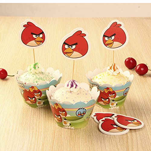 Dittoy pack of 24 12pcs wrappers 12pcs toppers cute for Angry birds cake decoration kit