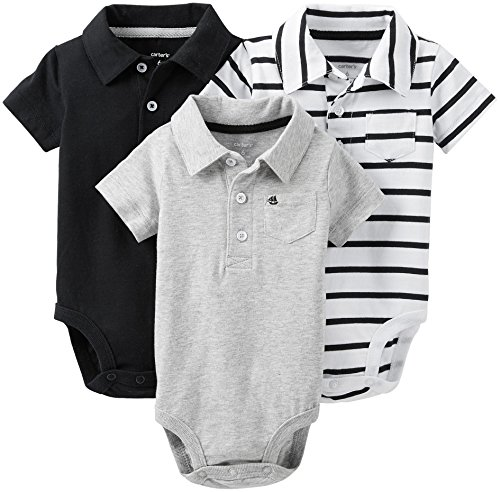 Carter'S Baby Boys' 3-Pack Polo Bodysuits Striped (Black & White) (Nb) front-135227