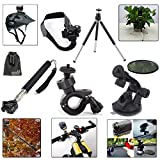 EEEKit 7-in-1 Outdoor Kit for Sony Action Video Camera HDR-AS15 HDR-AS20 HDR-AS30V HDR-AS100V Outdoor Sports, Handheld Monopod Extendable Mount + Bike Bicycle Handlebar Tripod Mount Holder Stand + Sports Helmet Mount Holder + Car Suction Cup Mount + Car Suction Cup Pad + Rotatable Mini Portable Tripod Stand + EEEKit Pouch