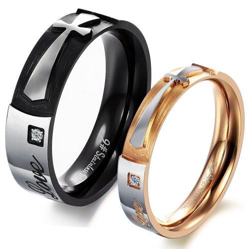 "Geminis New Fashion Personalized Cross W/Rhinestones(Cz) Black&Rose Gold Plated ""Love"" 316 L Stainless Steel Titanium Wedding Band Anniversary/Engagement/Promise/Couple Ring Best Gift! (The Ladies' Ring, 8)"