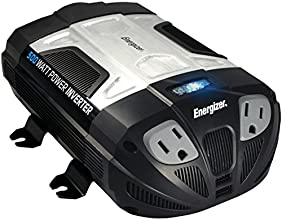 Energizer 500W Power Inverter 12V DC Cigarette Lighter or Battery Clips to 120 Volt AC with 2 USB Ports 2.1A Shared Compatible with iPad iPhone and More