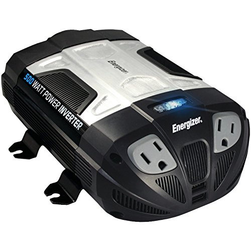 ENERGIZER 500W Power Inverter 12V DC cigarette lighter or battery clips to 120 Volt AC with 2 USB ports 2.1A shared compatible with iPad iPhone & more