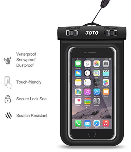 JOTO Universal Waterproof Case Bag Pouch for iPhone and Android Smartphones, Apple iPhone 6, 6 plus, 5S 5C 5 4S, Samsung Galaxy S6, S5, S4, S3, Samsung Note 4/3/2, LG G4 G3, Motorola MOTO, Nokia, Sony, HTC One M9 M8 M7, [Cellphone Waterproof Life Pouch, Smartphone Dry Bag, Credit Card Wallet Money Dry Bag] (Different Color and Size Options)