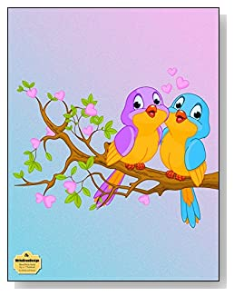 Lovebirds And Hearts Notebook - Two cute lovebirds in a tree provide a teal and purple color scheme for the cover of this blank and wide ruled notebook with blank pages on the left and lined pages on the right.