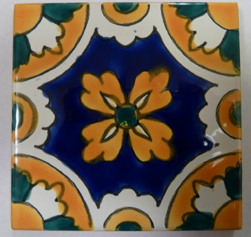 Decorative Ceramic Tile (Set of 4 Tiles) - Basra Design By Le Souk Ceramique