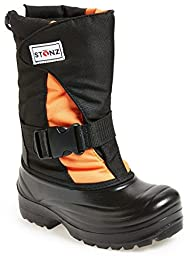Stonz Winter Boots For Cold Weather, Snow, Ice and Winter Sports - Insulated, Super Light, Warm, Orange/Black, Youth 2