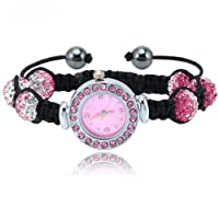 NEW 3 TONE Pink Crystal Shamballa Disco Ball Stainless Steel Friendship Bracelet Watch Xmas Gift 10mm