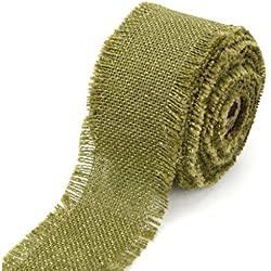 "Kel-Toy Fringed Edge Burlap Ribbon with Gold Metallic Thread, 2.5"" by 10 yd., Olive Green"