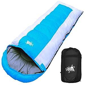 丸洗いOK White Seek 寝袋 シュラフ 封筒型 耐寒温度 -15℃ コンパクト収納 オールシーズン (ライトブルー)
