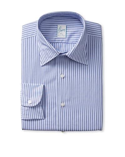 Orian Men's Slim Fit Washed Spread Collar Poplin Striped Dress Shirt