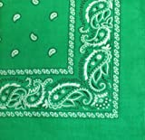 "Bandanas By The Dozen 100% Cotton 12-Pack 22"" x 22"" - Paisley Kelly Green"