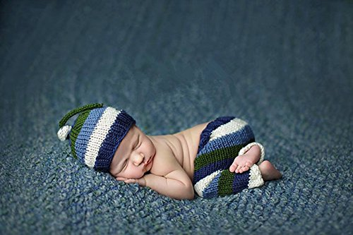 Pinbo Baby Photography Prop Crochet Knitted Crochet Costume Striped Hat Pants