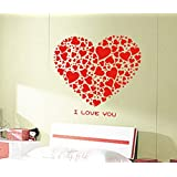 UberLyfe Pigmented Polyvinyl Decal Gorgeous Red Hearts Of Love Wall Sticker