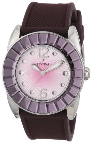 Festina F16540/7 - Reloj analógico de cuarzo para mujer con correa de caucho, color marrón