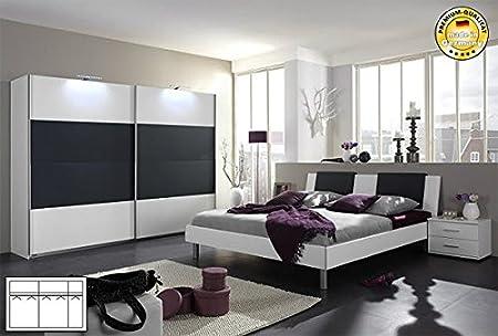 Komplett Schlafzimmer 1912 weiß anthrazit Schwebeturenschrank 313cm, Bett 180x200cm