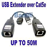 Amazon.co.jpUSB 1.1 UTPエクステンダー以上のシングルRJ45イーサネットCAT5E 6ケーブル最大50M150フォート
