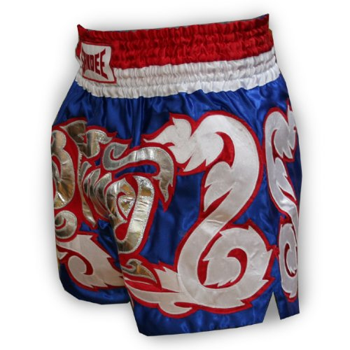 Sandee Dominance Satin Thai Shorts - Blue/silver - Size S (For Boxing, MMA, UFC, Muay Thai)