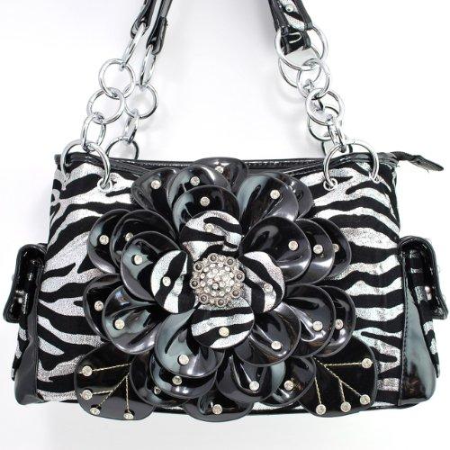 Western Silver Zebra Flower Rhinestone Concho Handbag Purse