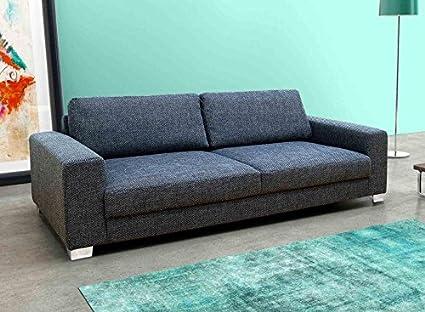 BITONTO 3er Boxspringsofa 3-Sitzer Sofa Couch Webstoff Schwarz-Grau