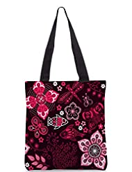 Snoogg Colorful Floral Seamless Pattern In Cartoon Style Seamless Pattern Designer Poly Canvas Tote Bag - B012FUFWH8