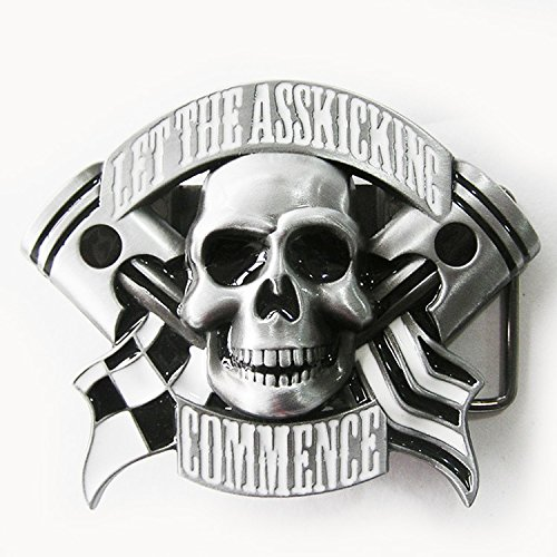Emo Skull Flag Lighter Belt Buckle
